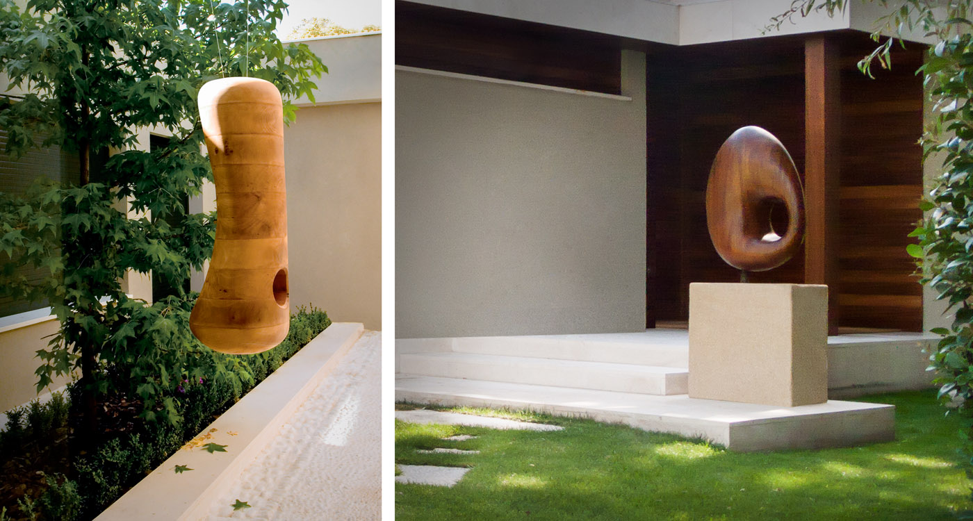 Sculptures by Jorge Palacios integrated with the architecture and landscape